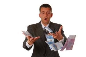 Businessman is losing money